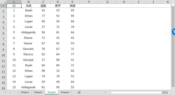 SQLのSELECT文でデータを抽出したシート
