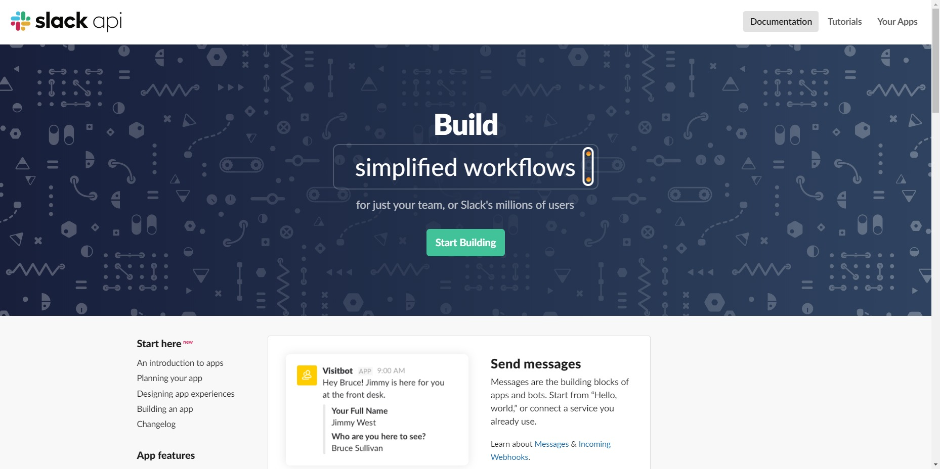 Slack APIのトップページ