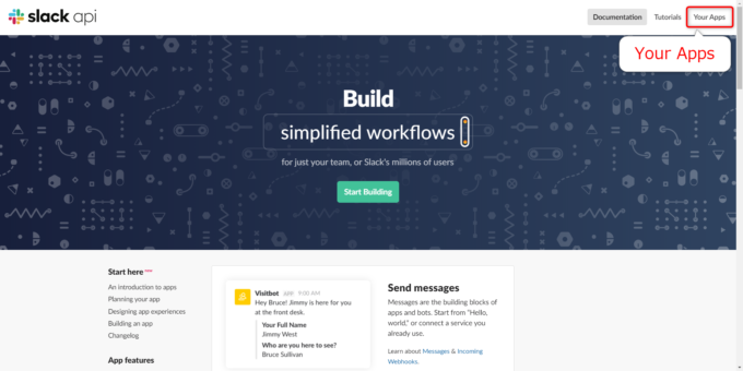 Slack APIページから「Your Apps」にアクセスする