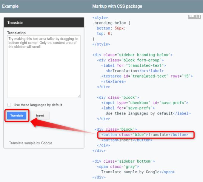 サイドバー用CSSパッケージでボタンを青くするclass属性