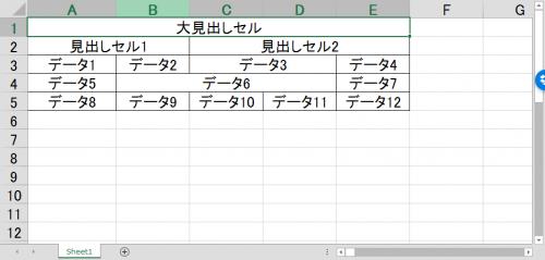 セル結合を含むエクセル表