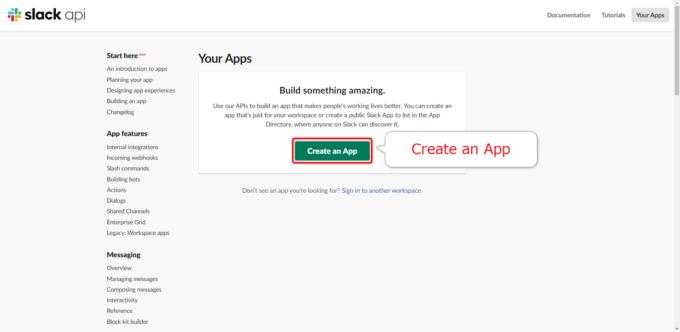 Slack APIページでAppの作成をはじめる