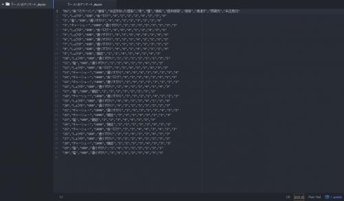 ダブルクォーテーションつきのCSVファイル