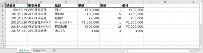 エクセルの請求データリスト