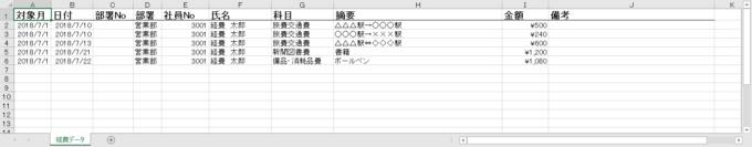 エクセルVBAで経費データを転記した