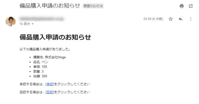 承認者に送られるGmailメッセージ