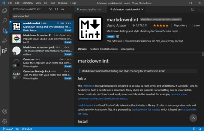 VS Codeの拡張機能markdownlint