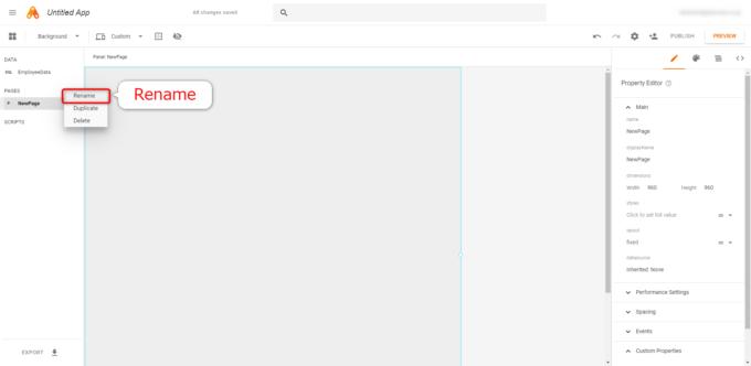 App MakerのNewPageについてRenameを選択する