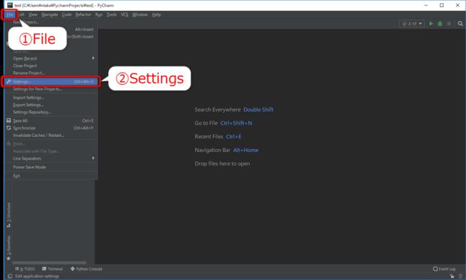 PyCharmのFileメニューからSettingを選択