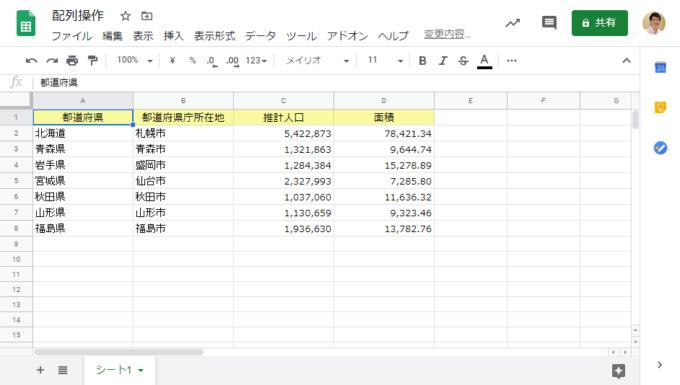 スプレッドシートのシート上の都道府県データ