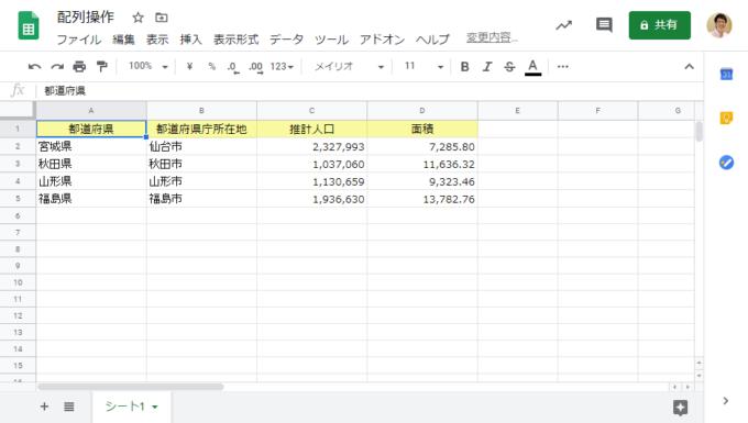 スプレッドシートの都道府県データ