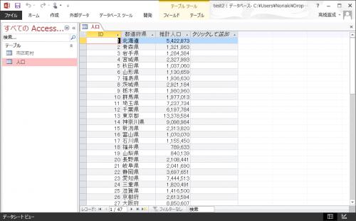 Accessデータベースのテーブル「人口」