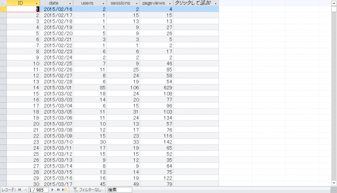 エクセルVBAで操作するアクセスに関するデータベース