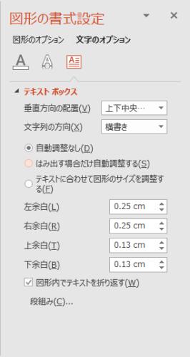 図形の書式設定の文字のオプションのテキストボックスの設定項目
