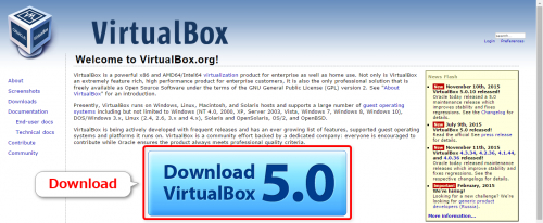 VirtualBoxをダウンロード