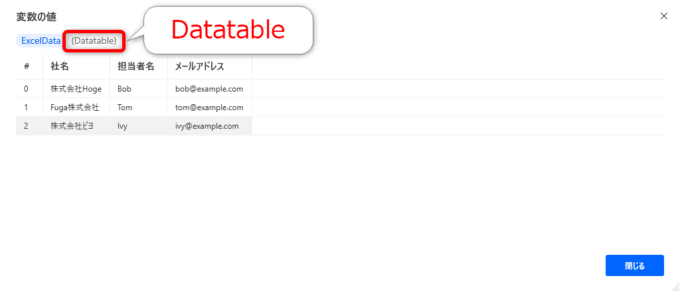 Excelデータから取得したデータテーブル