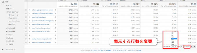 Googleアナリティクスで表示行数を変更