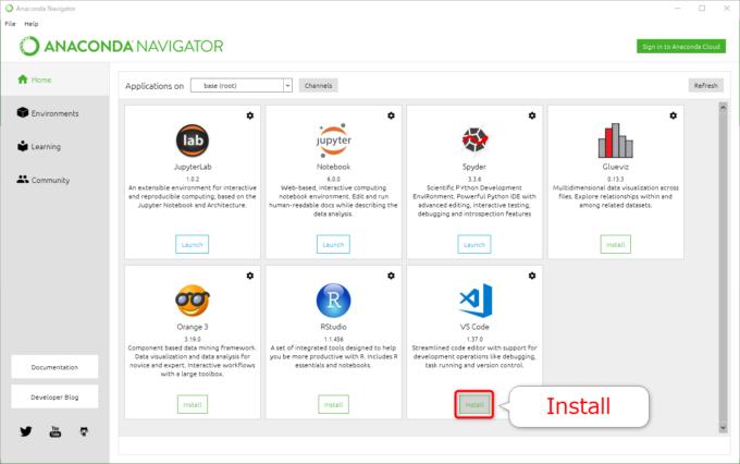 Anaconda NavigatorでVS Codeを「Install」