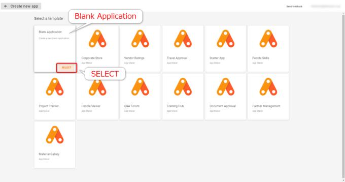 App MakerでBlank Applicationを選択する