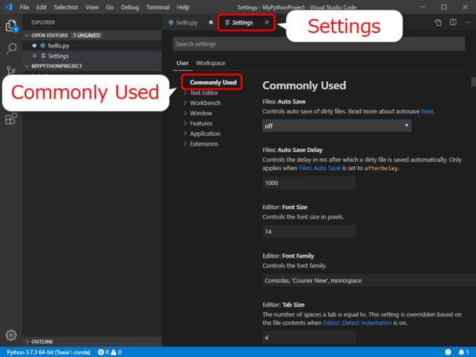 VS CodeのSettingsの一般的な設定「Commonly Used」