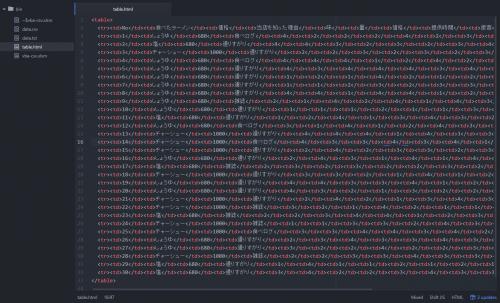 エクセルVBAで出力したHTML形式のテーブル