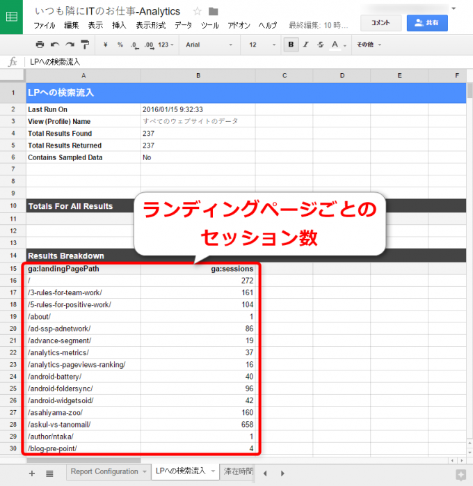 ランディングページごとの検索流入セッション数レポート