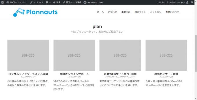 生成したplanセクションのHTMLソースのプレビュー