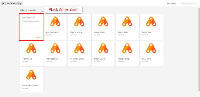 App MakerでBlank Applicationを選択する