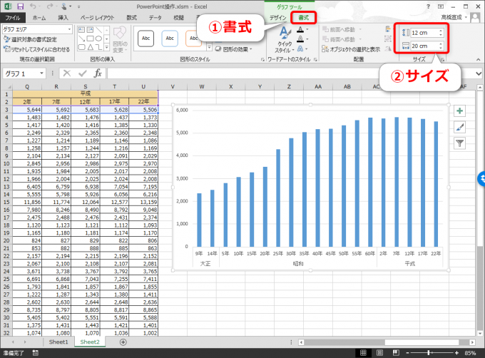 エクセルでグラフのサイズをPowerPointのA4横に合わせる