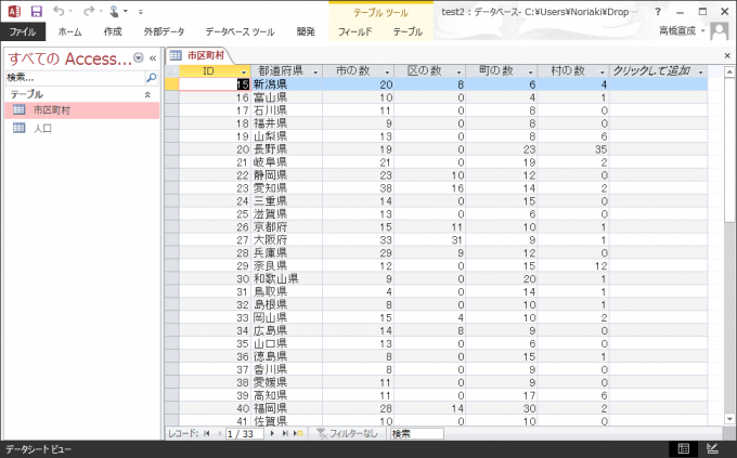 Accessデータベースのテーブル「市区町村」