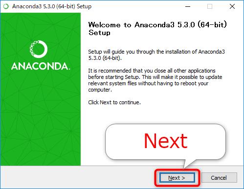 Anacondaのセットアップを開始