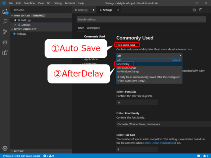 VS Codeの自動保存の設定「Auto Save」