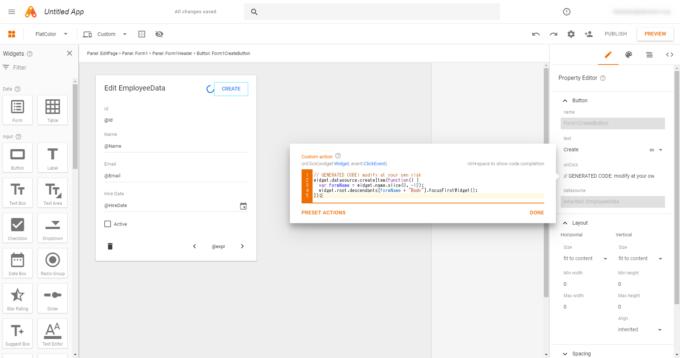 App MakerのボタンonClickイベントによるCustom actionのコード