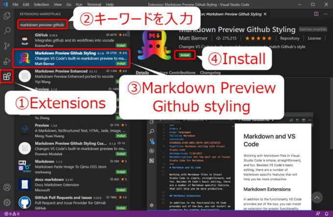 VS Codeの拡張機能Markdown Preview Github Stylingのインストール