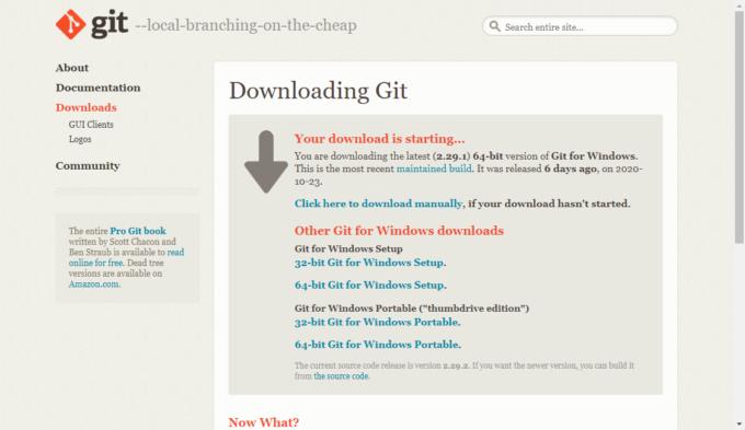 Gitのインストーラーをダウンロード