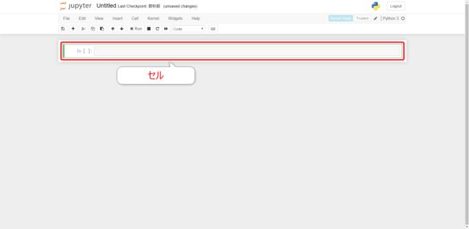 Jupyter Notebookのエディットモードのセル