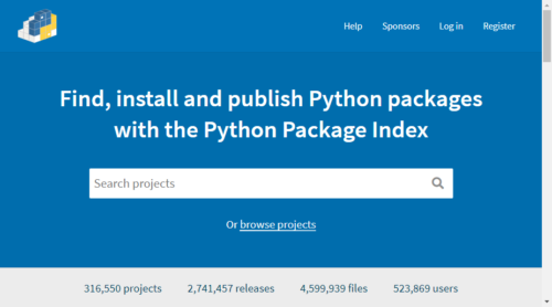 The Python Package Index(PyPI)のトップページ