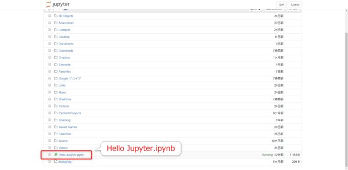 Jupyter Notebookでノートブック名の変更を確認する