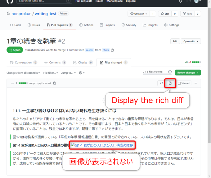 GitHubでrich diffを表示する