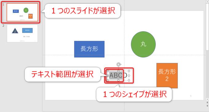 1つのスライドと1つのシェイプとテキスト範囲が選択されている状態