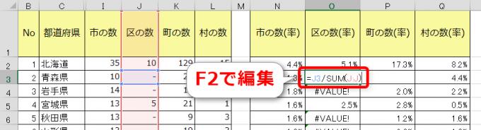 F2キーでセルの編集に入る