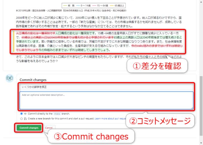 GitHubで修正をコミットする