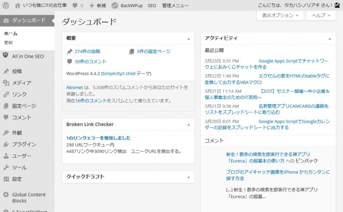 WordPress管理画面にログインした