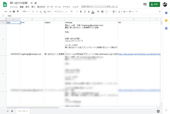 Gmailからのメールをスプレッドシートに出力した結果