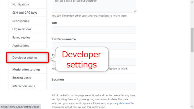 GitHubで「Developer settings」をクリック