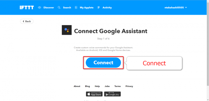 IFTTTでGoogle AssistantをConnect