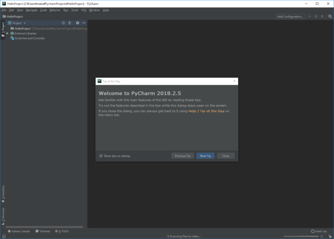 PyCharmのプロジェクト作成後の画面