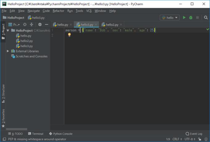 PyCharmでコードを補正して空白スペースが挿入された