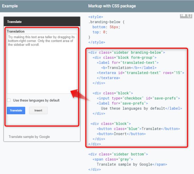 サイドバー用CSSパッケージでdivタグにclass属性sidebar