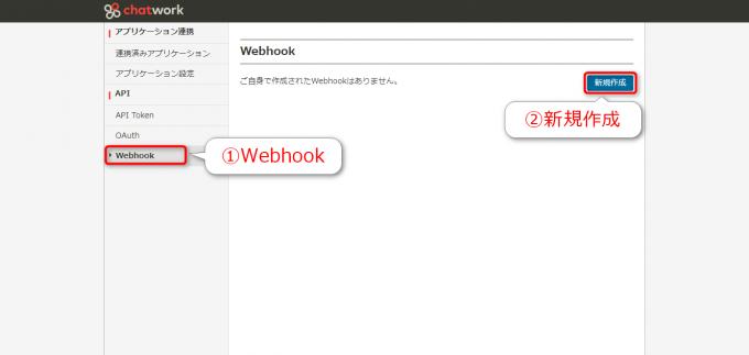 チャットワークのAPI画面からWebhookの新規作成